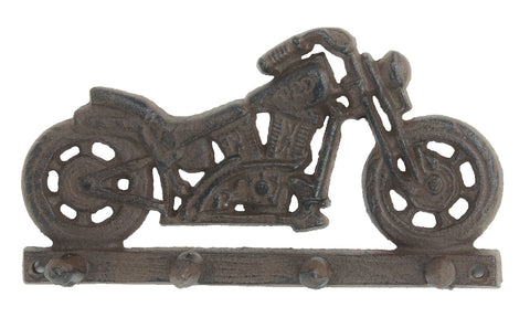 Motorcycle Key Rack - Four Hooks - Antique Brown