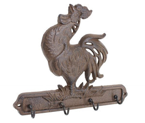 Crowing Rooster Key Holder - Antique Brown