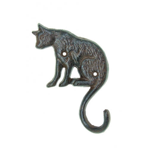 Sitting Cat Hook - Single Hook - Antique Brown