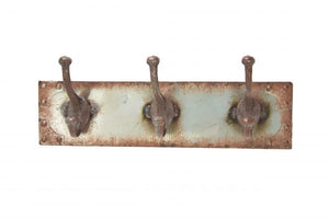 Coat Rack - Three Hooks - Vintage Brown/Rust & Green