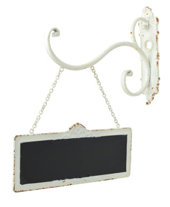 Vintage White Chalkboard Sign with Hook and Chain