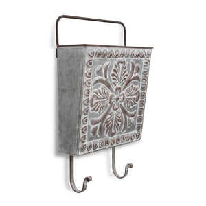 Metal Hanging Storage Pocket with 2 Hooks and Floral Press