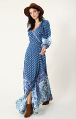Hale Bob 05BB6883 Paisley Long Wrap Dress Blue