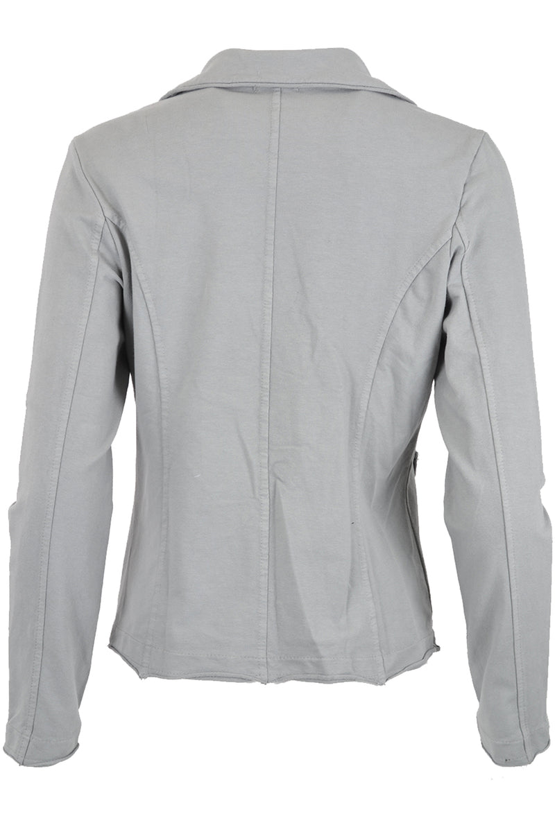 Suzy D Jersey Jacket with Raw Edges Grey