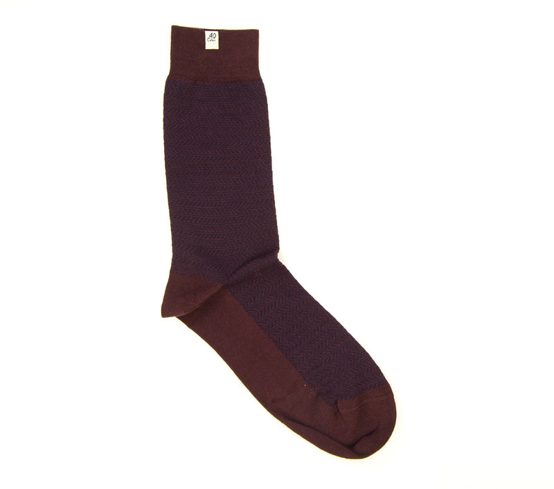 40 Colori Men's Socks 113903-S Striped Organic Cotton Burgundy