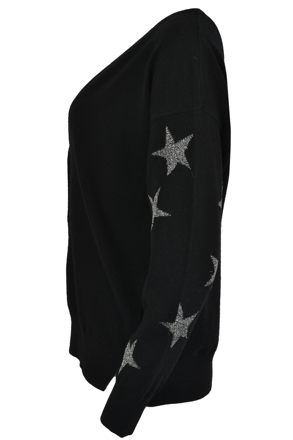 Jeff LETOILE CARD Lurex Stars Sleeve Cardigan Black