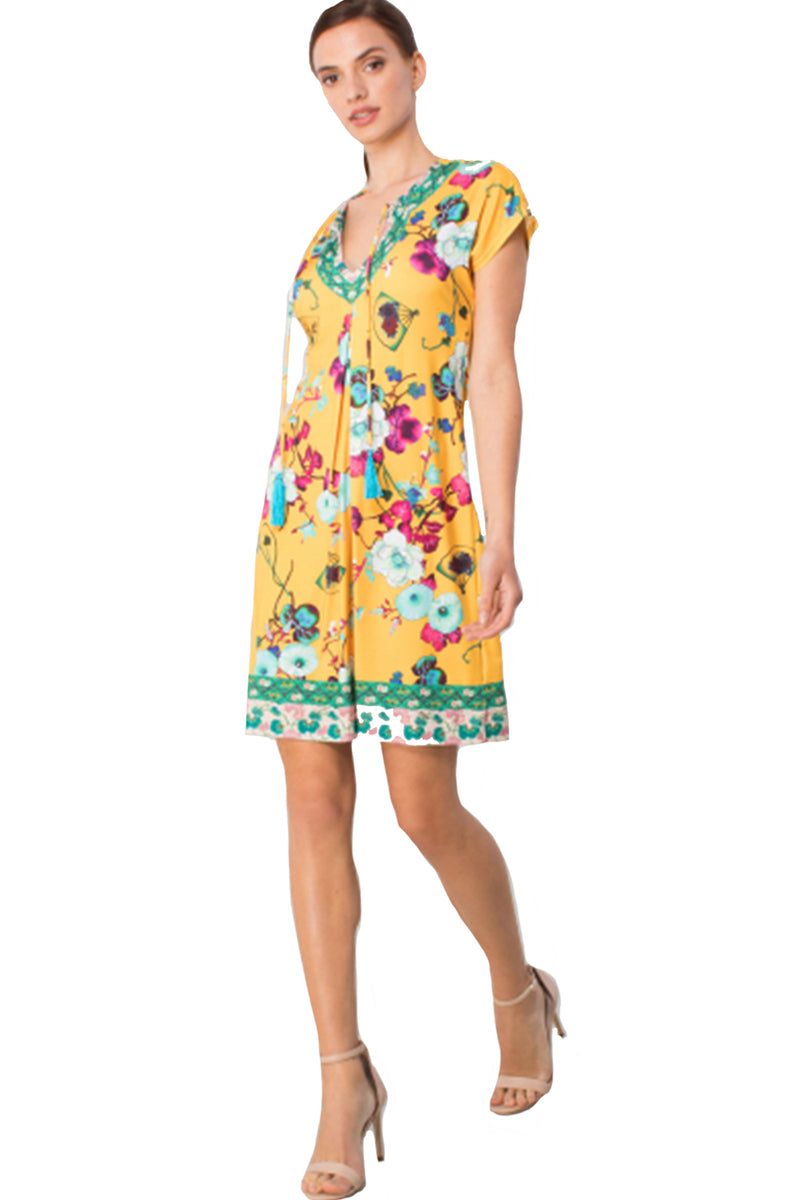 Hale Bob Dress Coco Tie Neck Oriental Gold