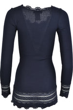 Rosemunde 5209 Long Sleeve Silk Mix Top with Lace Trim Navy