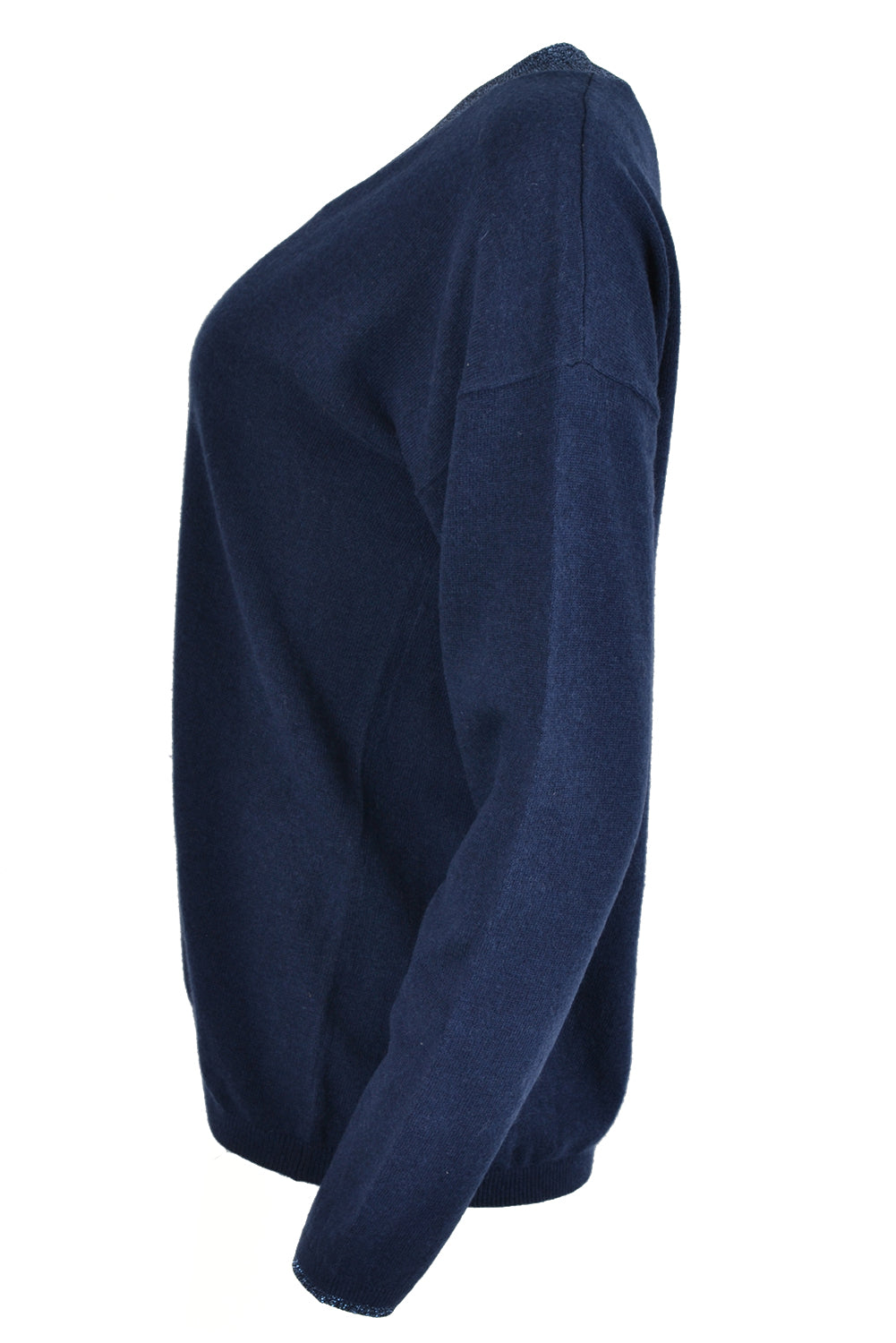 Jeff LUCAS Lurex V Neck Cardigan Navy