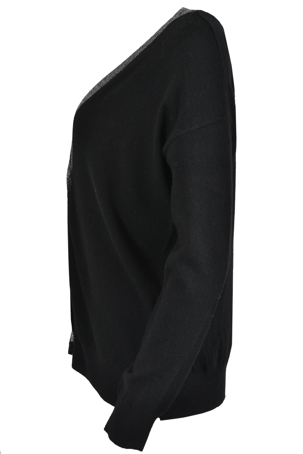 Jeff LUCAS Lurex V Neck Cardigan Black
