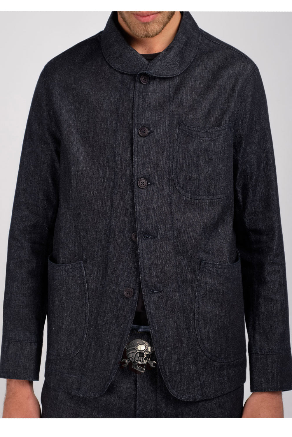 Rockers Delight JAYCE Denim Chore Work Coat Dark Denim