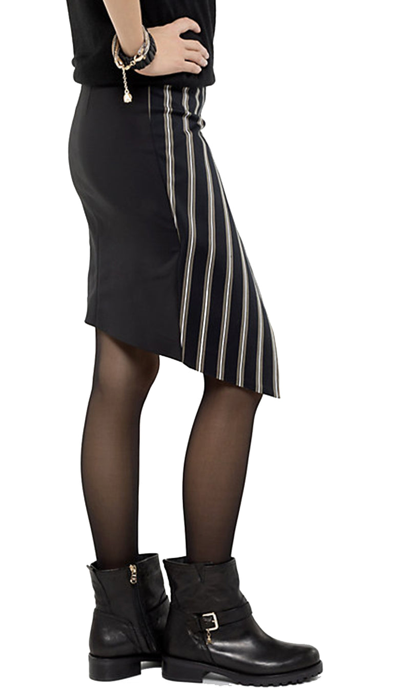 Patrizia Pepe Skirt 8G012 Asymmetric London Stripe Black