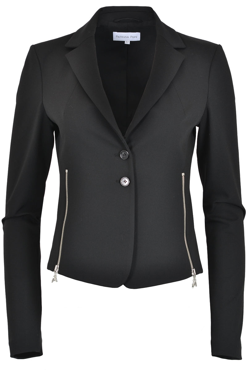 Patrizia Pepe 2S1331 Cropped Fitted Jacket with Zips Black