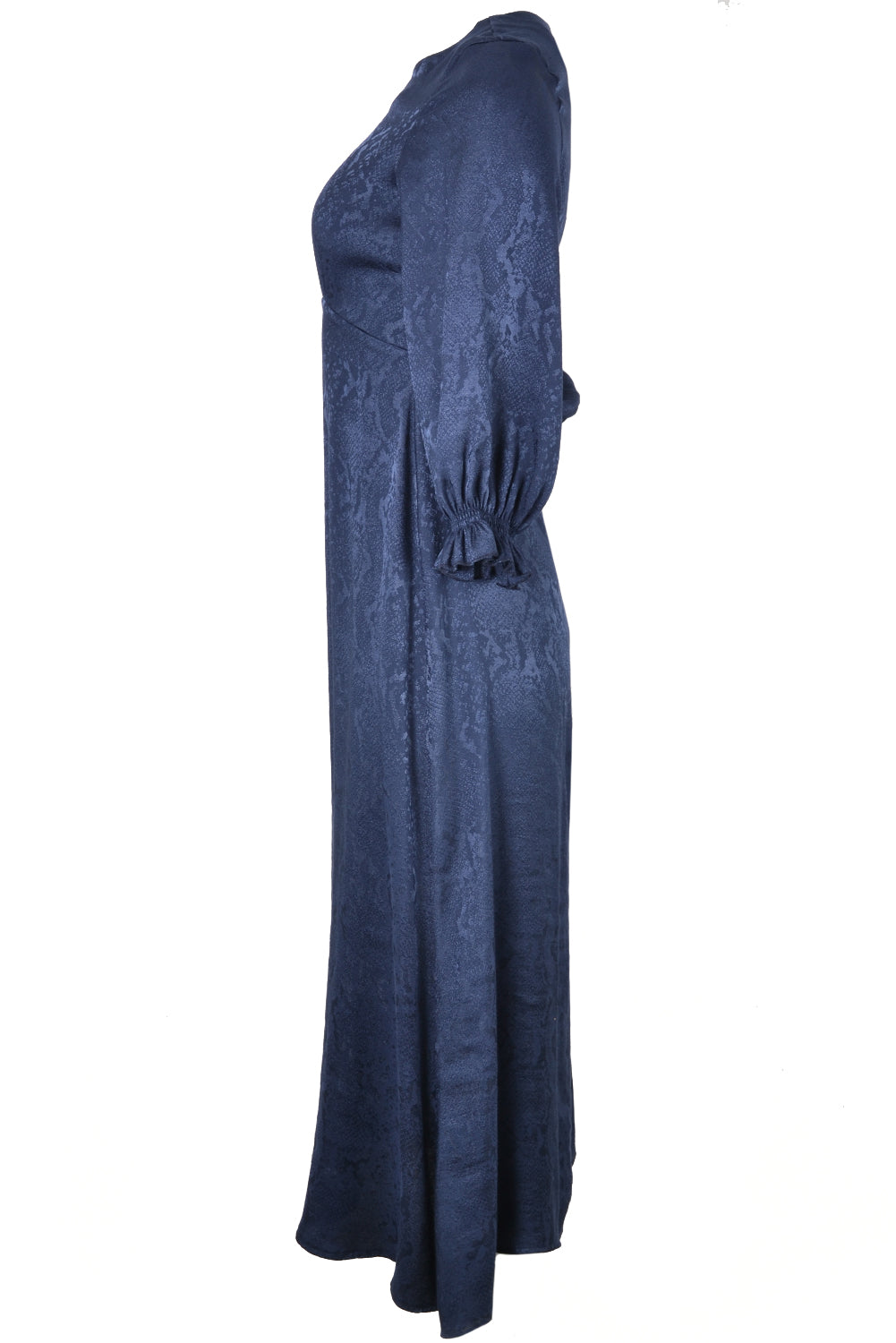 Vilagallo KARA Snake Print Maxi Dress Navy