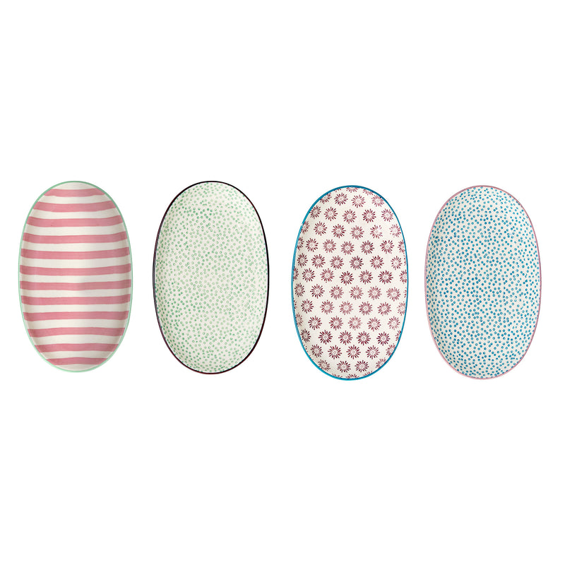 Bloomingville Set of 4 Patrizia Oval Plates Assorted Colours