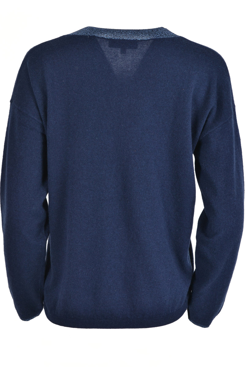 Jeff LEON V Neck Lurex Trim Jumper Navy