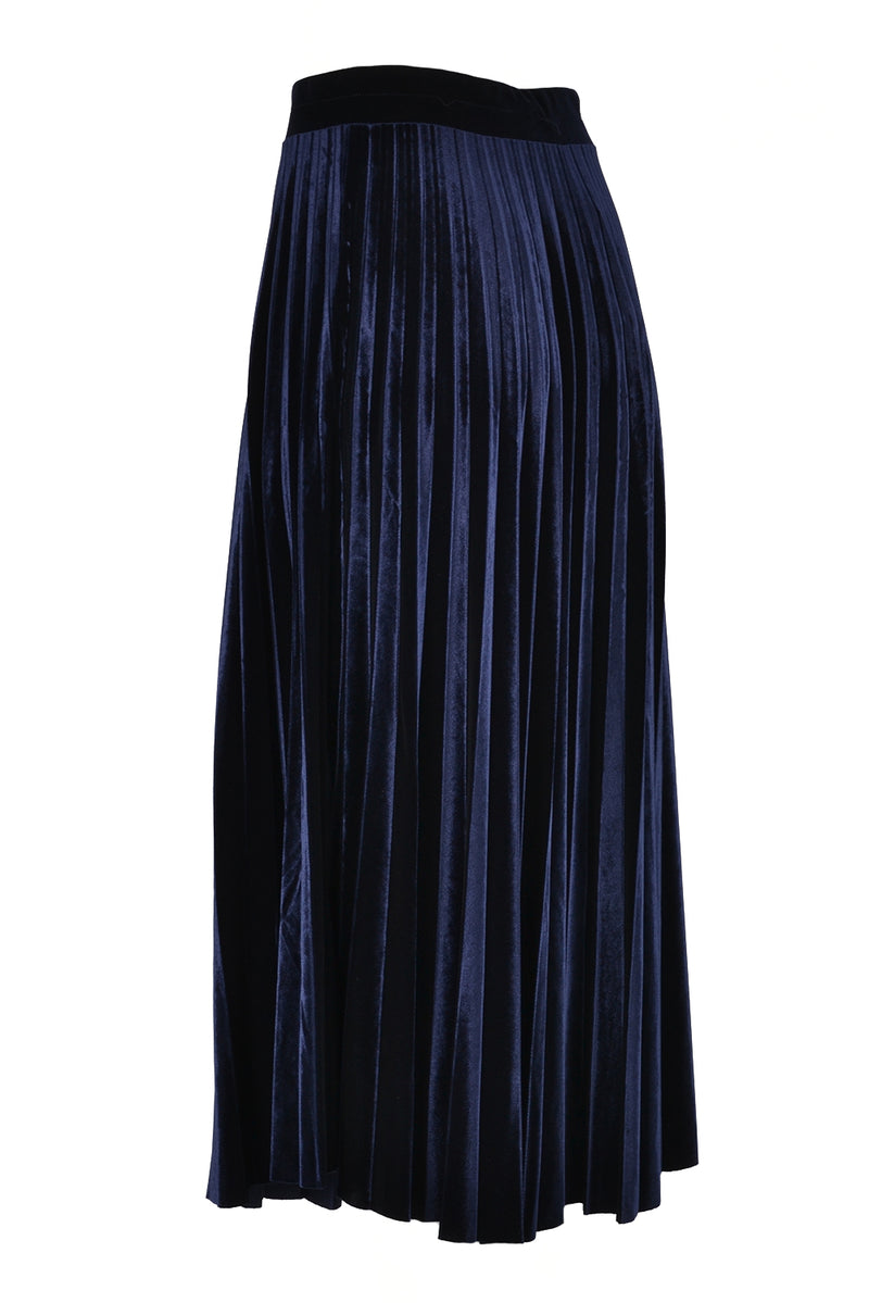 Pour Moi Pleated Velvet Skirt Navy 3663