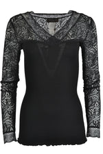 Rosemunde 4874 Silk Lace Sleeve Top Black