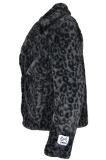 Rino & Pelle JUNA Short Faux Fur Coat Grey Leopard