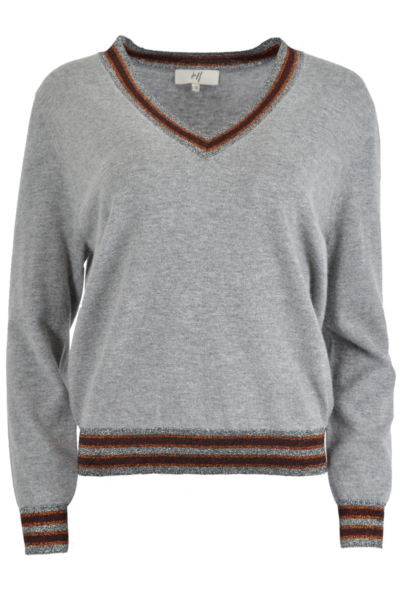 Jeff LULU Bicolour Lurex V Neck Sweater Grey