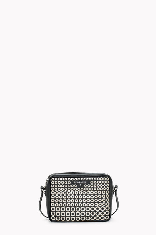 Patrizia Pepe 2V8985 Camera Bag with Silver Rivets Black