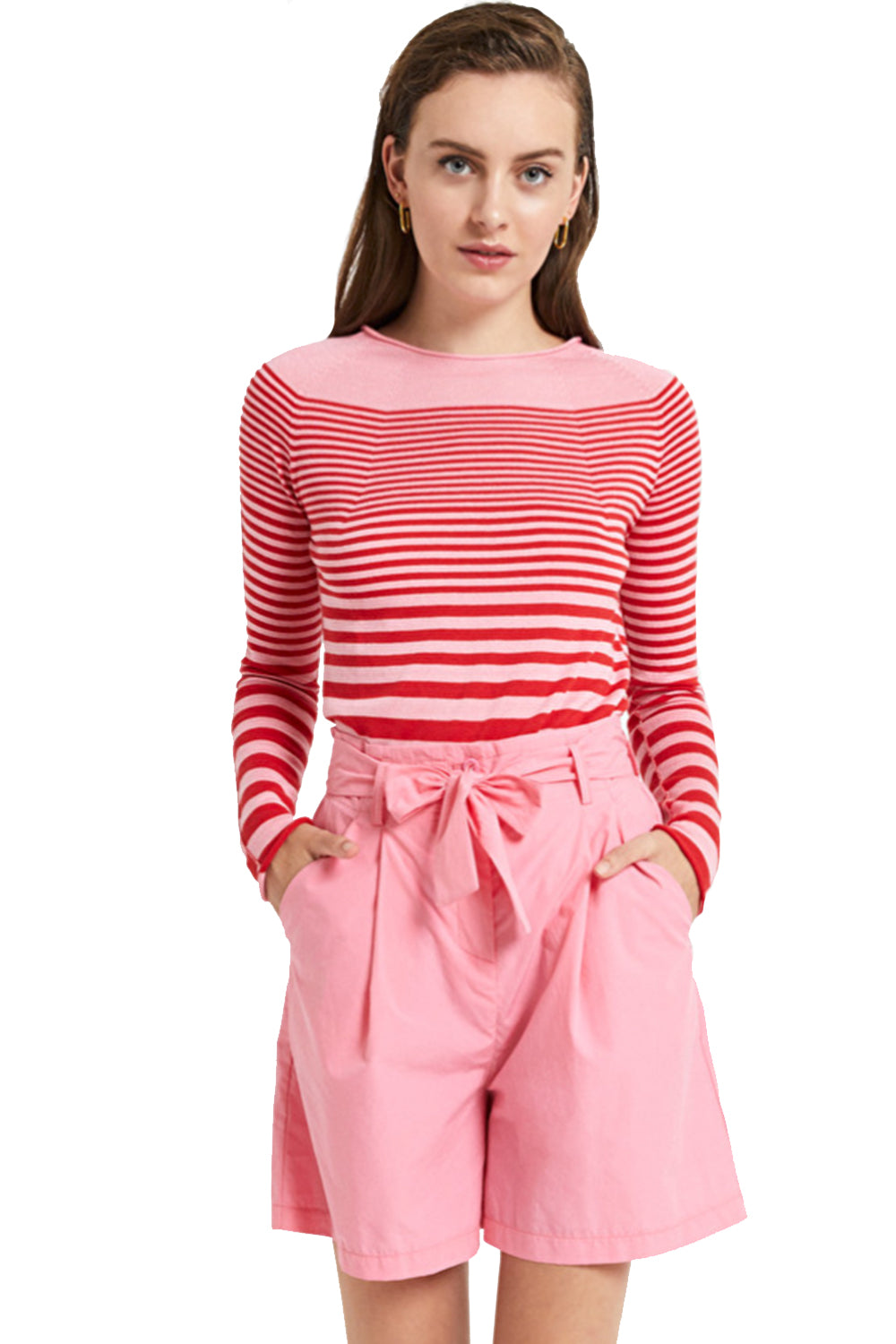 Ottodame Sweater EM7423 Stripe Turtle Neck Pink & Red