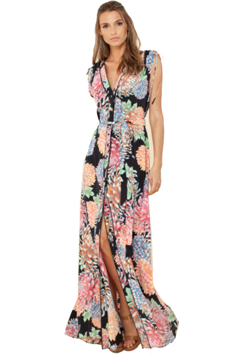 Hale Bob Long Dress ISABEL Chrysanthemum Print Black