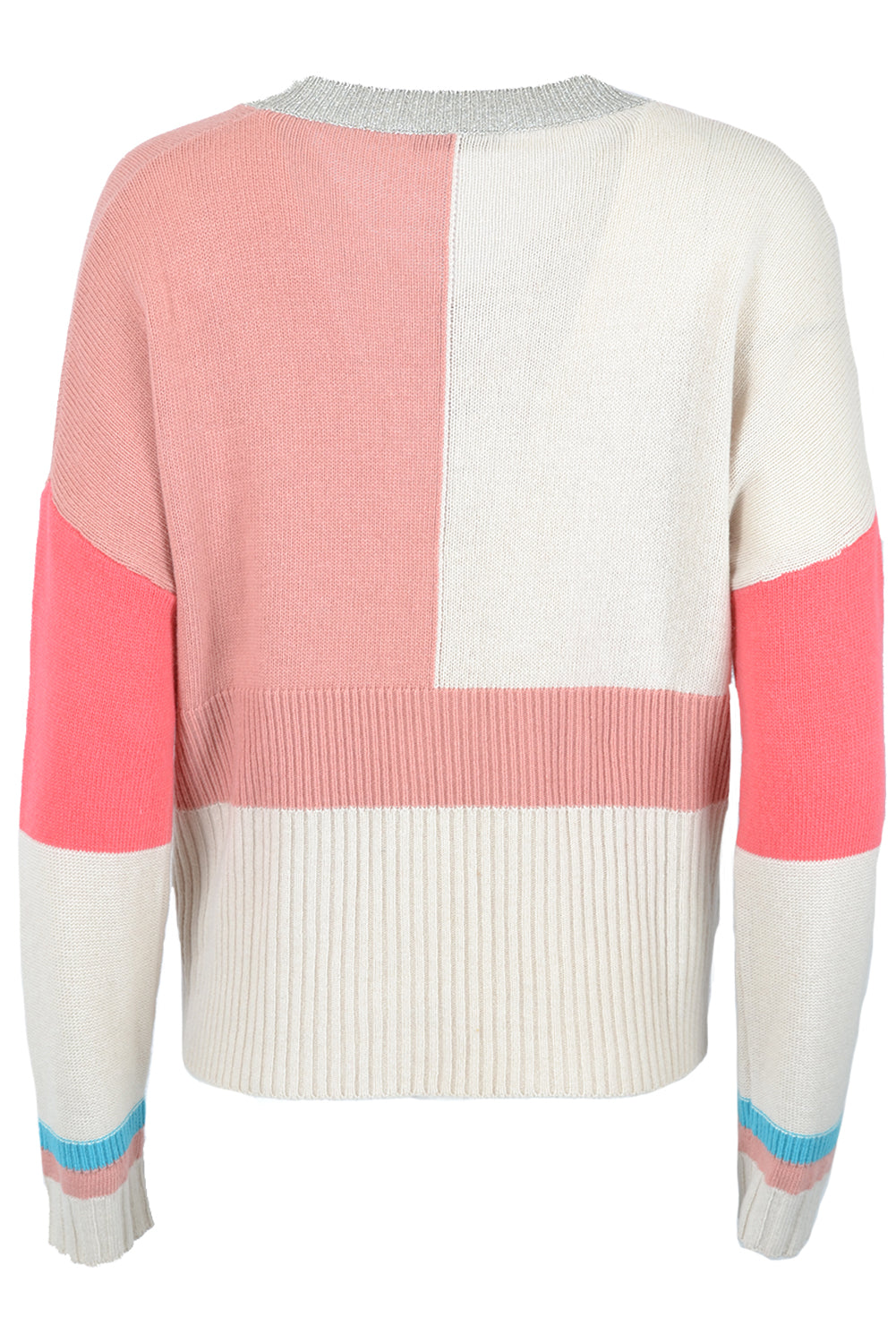 Pour Moi V Neck Stripe Sequinned Sweater Rose Pink