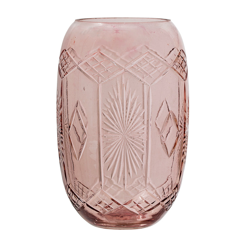 Bloomingville Etched Glass Vase Rose
