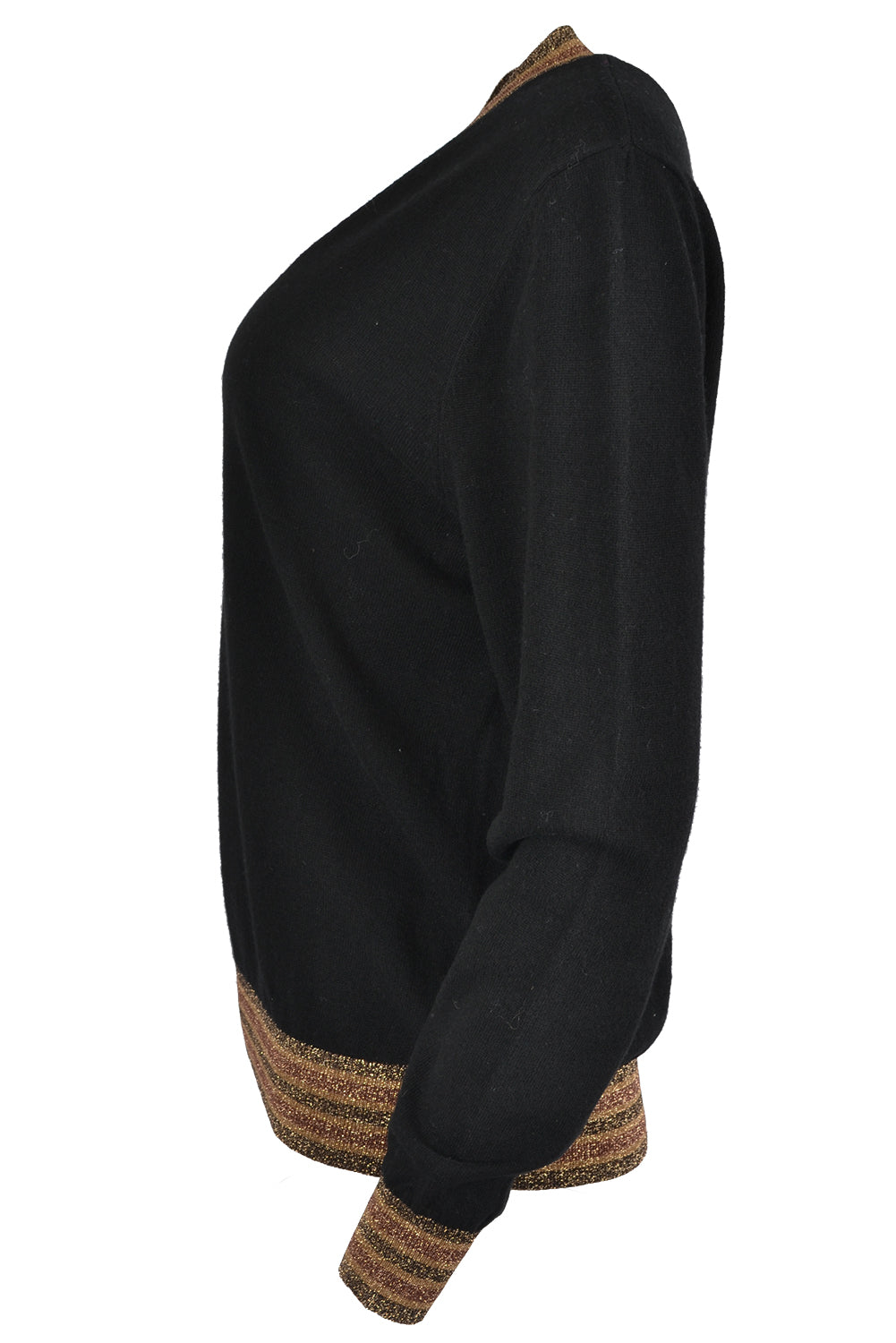 Jeff LULU Bicolour Lurex V Neck Sweater Black