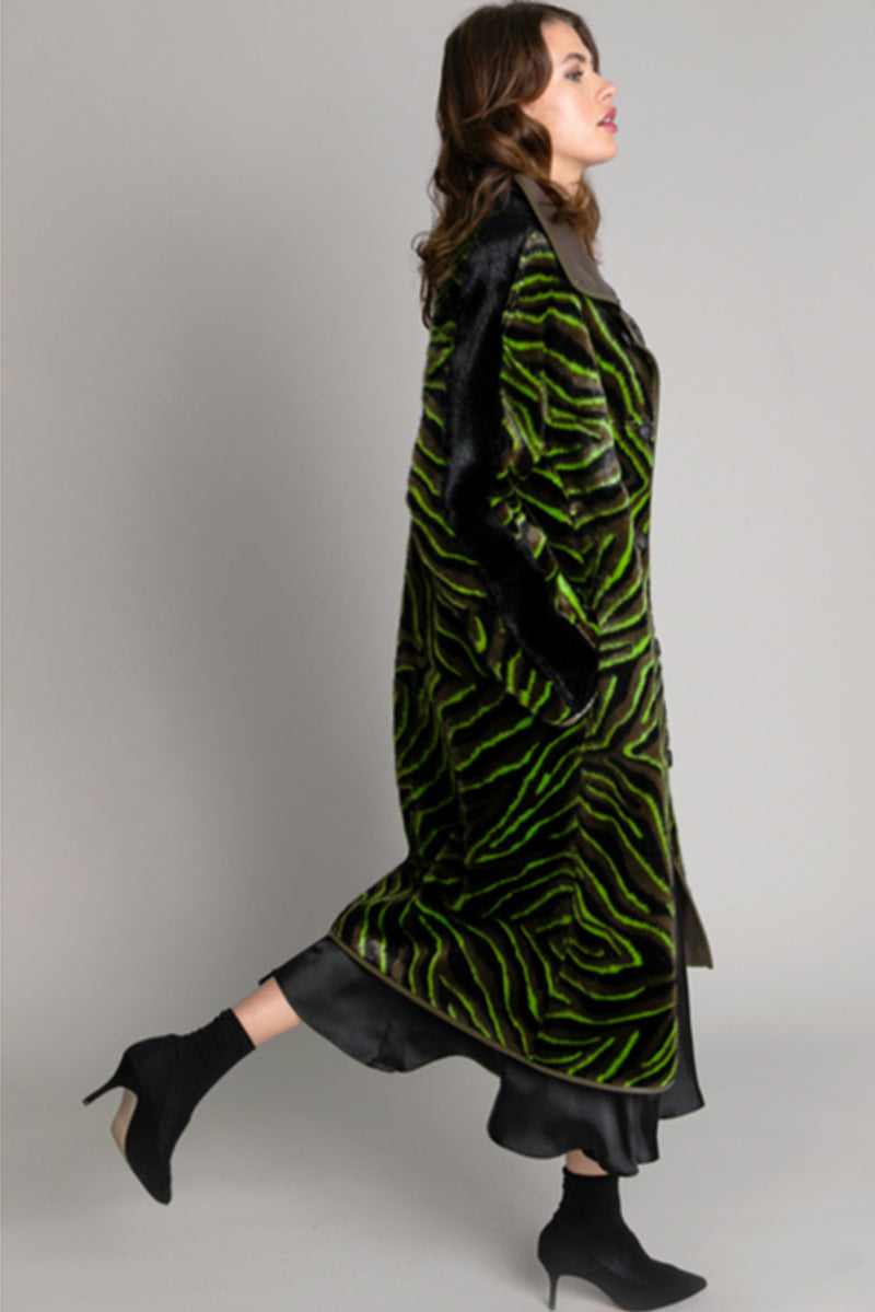 Urban Code Reversible Long Tiger Coat Acid Green