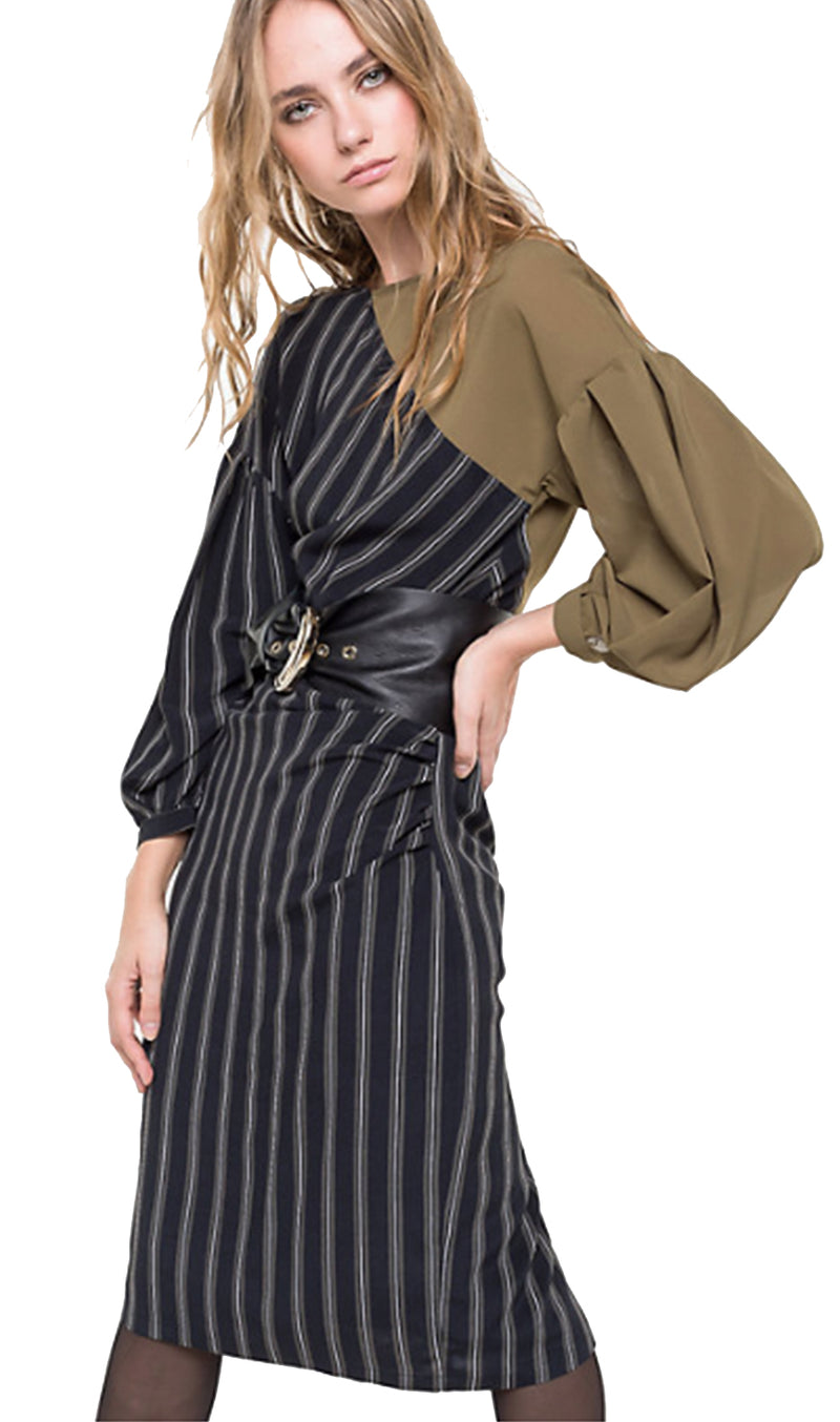 Patrizia Pepe Dress Khaki Sleeve London Stripe Black