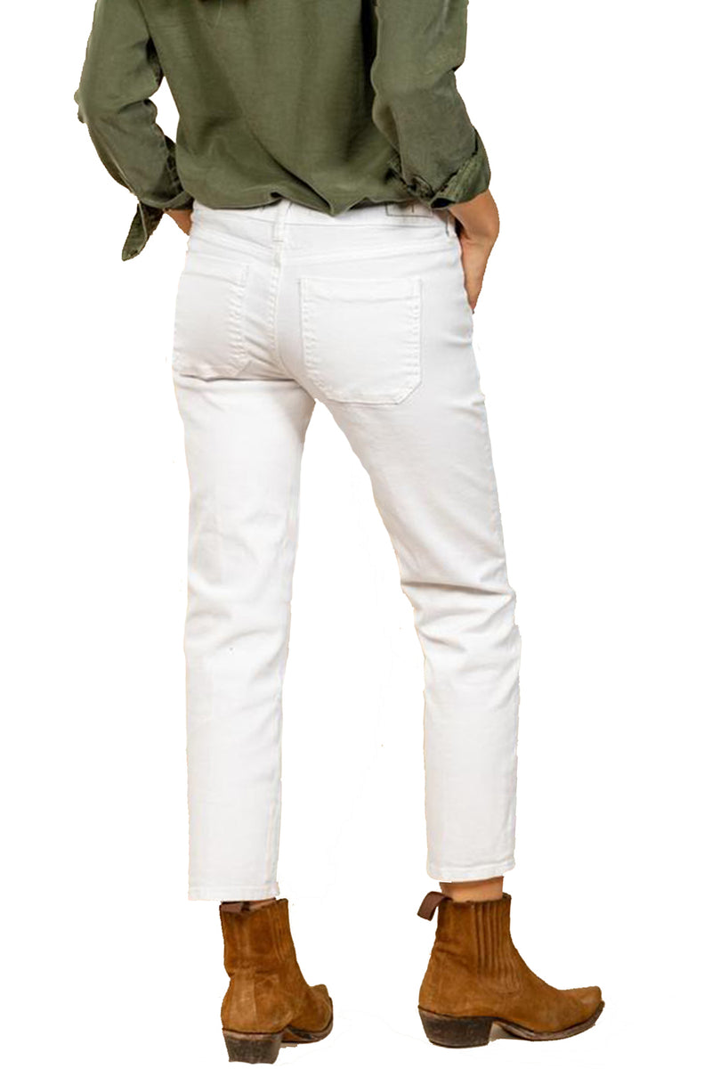 Five Jeans CELINE Straight Cut Stud Detail Pockets White