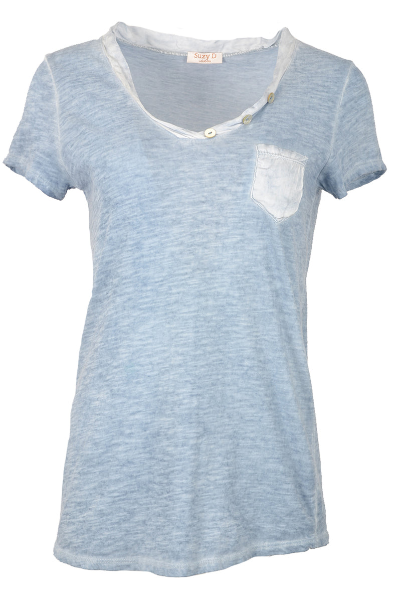 Suzy D Short Sleeve Pocket T Denim Blue