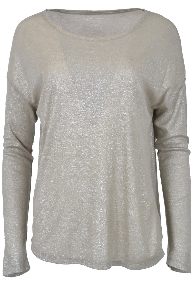 Majestic Filatures Boat Neck T-Shirt Metal Beige