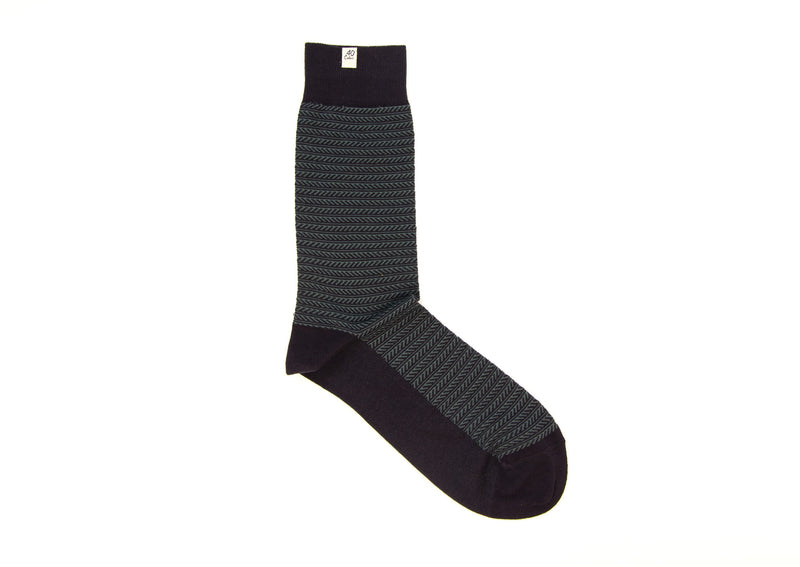 40 Colori Men's Socks 113901-S Striped Organic Cotton Charcoal
