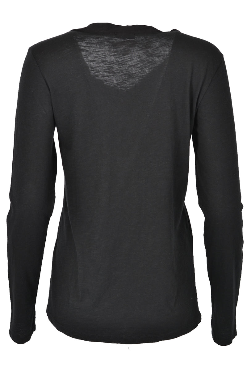 Suzy D Pocket Long Sleeve Top Button Detail Black
