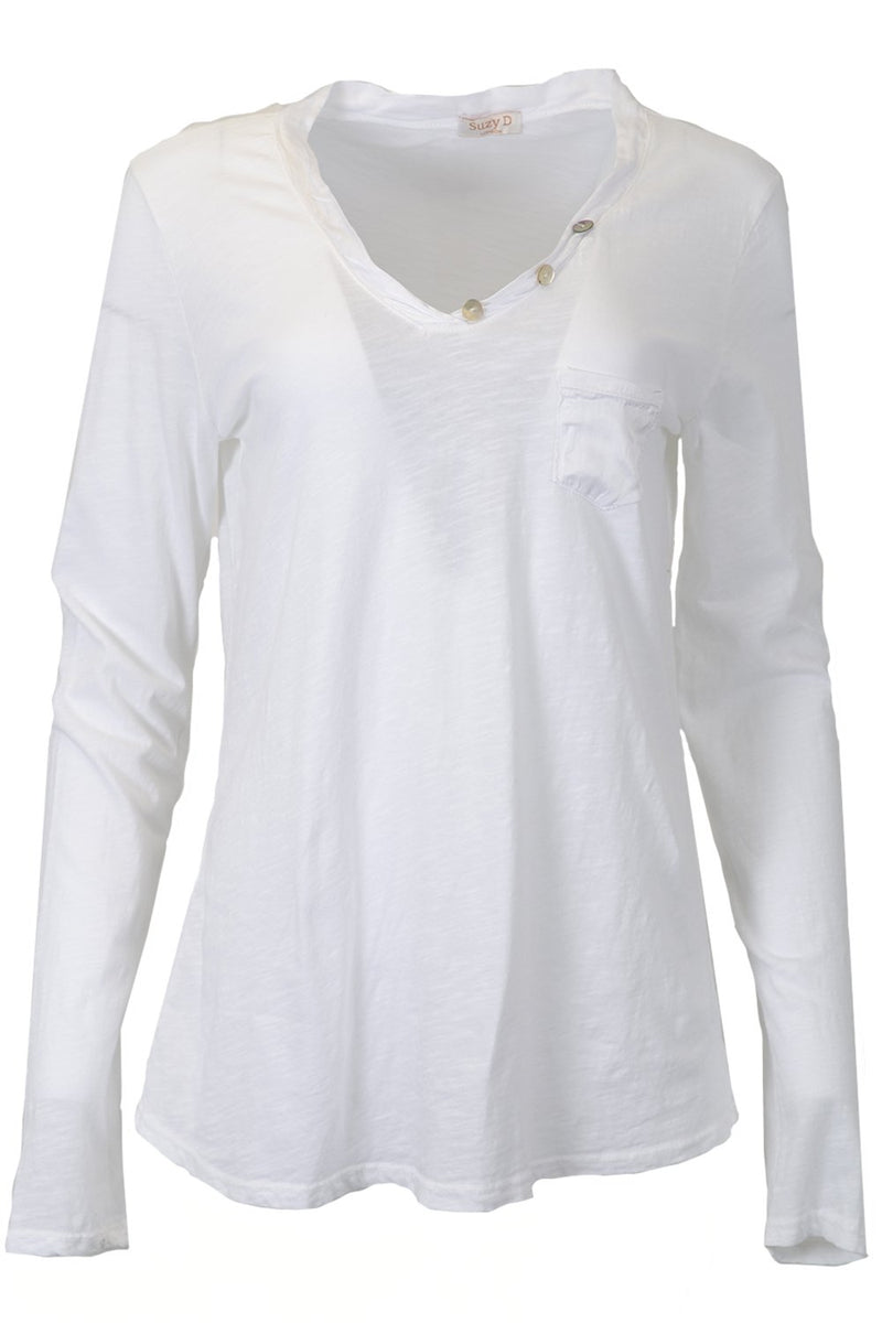 Suzy D Pocket Long Sleeve Top Button Detail Bordeaux