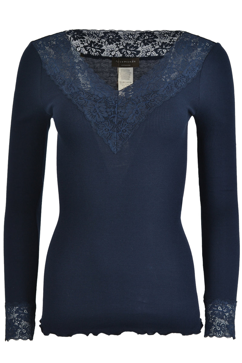 Rosemunde 4865 Long Sleeve Lace V Neck Top Navy
