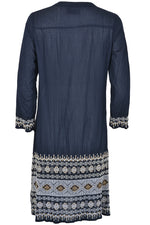 Oneseason Dress SAFI MIDDY Embroidered Navy