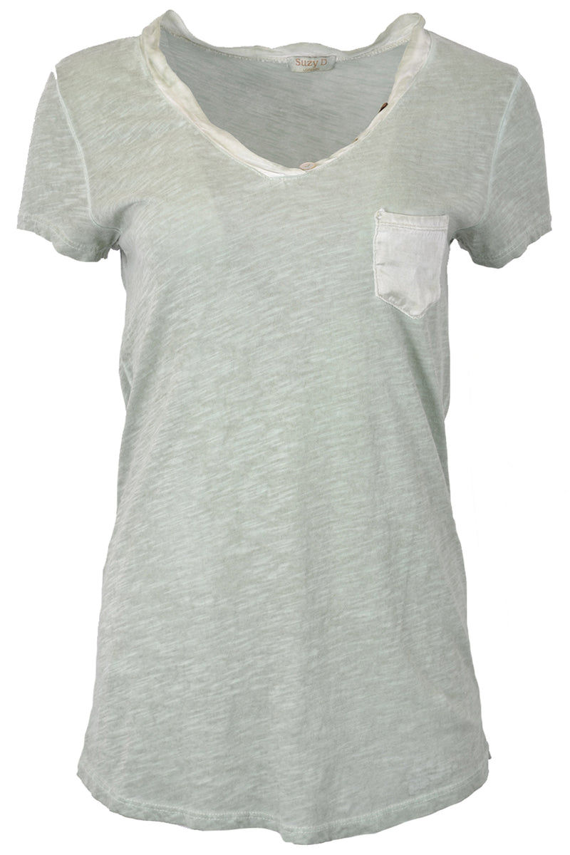 Suzy D Short Sleeve Pocket T mint green