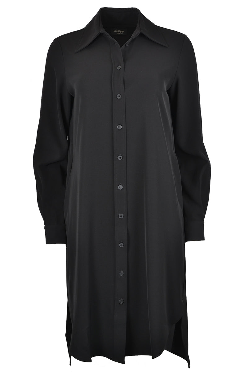 OttodAme Button Through Shirt Dress Black