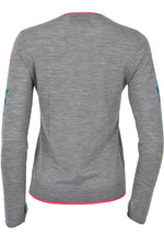 Wyse Sweater 100% Merino Star sleeve Grey