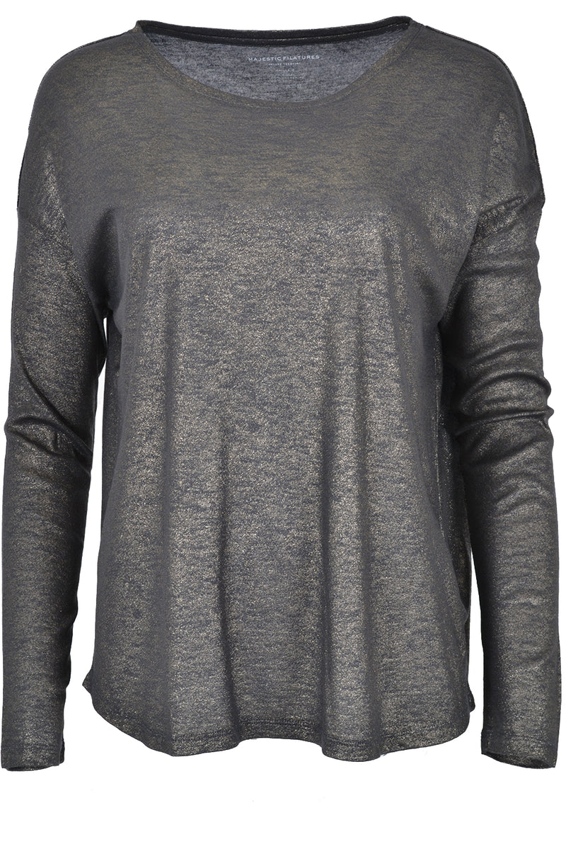 Majestic Filatures Boat Neck Long Sleeve T-Shirt Metal Ombra
