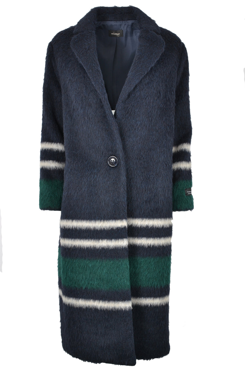 Ottod'Ame Alpaca Long Stripe Coat Navy & Green