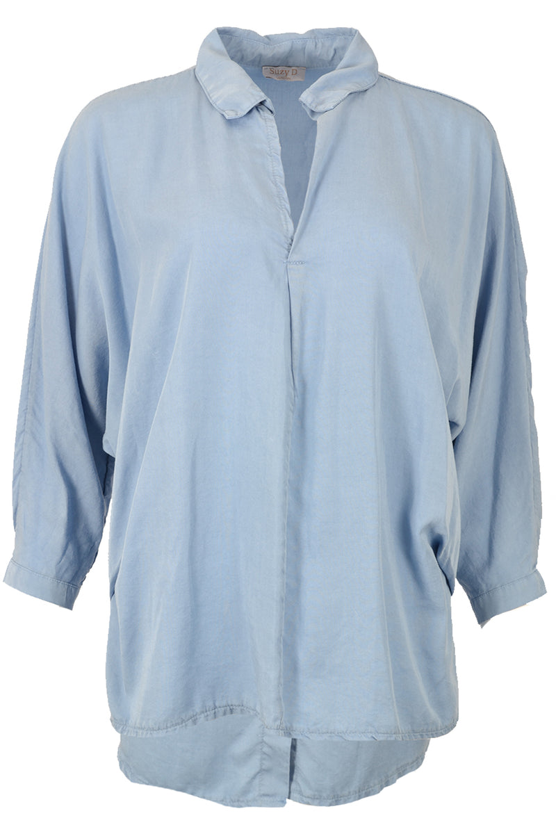 Suzy D Oversize Button Back Shirt Denim Blue