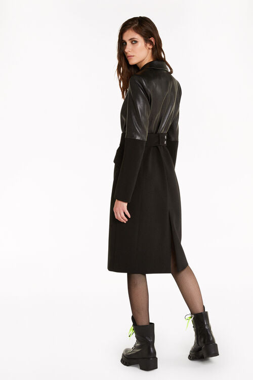 Patrizia Pepe Coat 8S0335 Faux Leather with Wide Rivet Belt Black