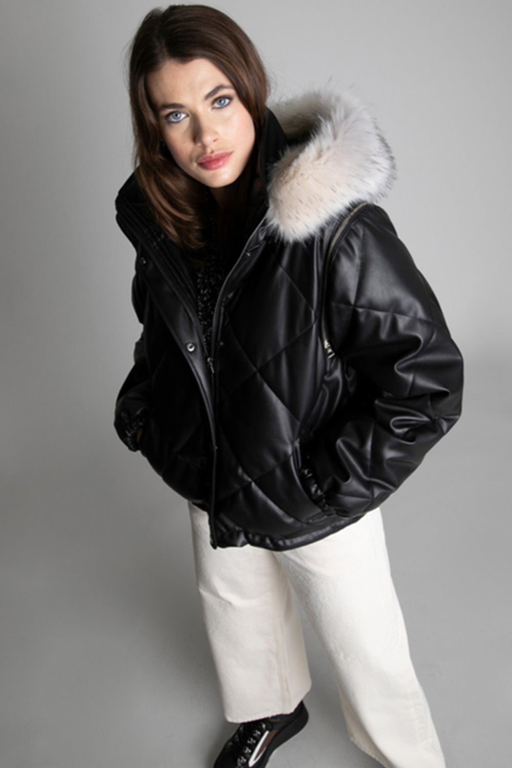 Urban Code Quilted Short Jacket Detachable Sleeves & Fur Hood Black