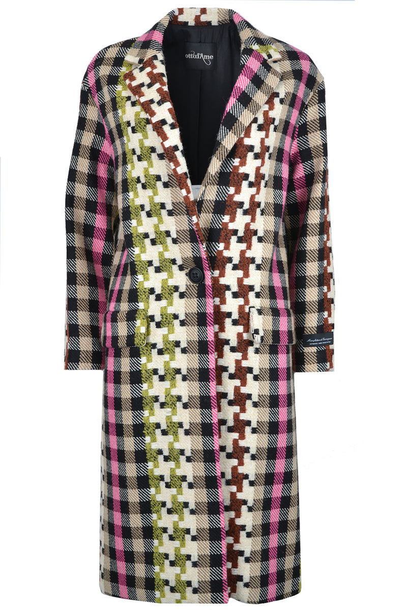 Ottod'Ame Wool Mix Check Coat Multi