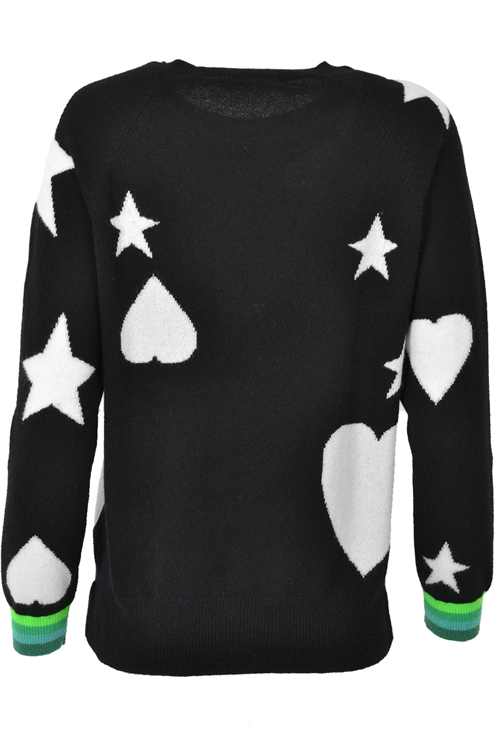 Brodie Cashmere Starstruck Hearts and Stars Jumper Black